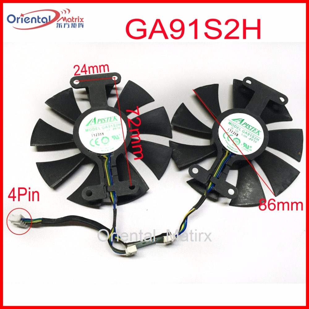 Free Shipping 2pcs/Lot GA91S2H 12V 0.35A 4Pin 86mm VGA Fan For ZOTAC GTX960-AMP Graphics Card Cooler Cooling Fan 4pin mgt8012yr w20 graphics card fan vga cooler for xfx gts250 gs 250x ydf5 gts260 video card cooling