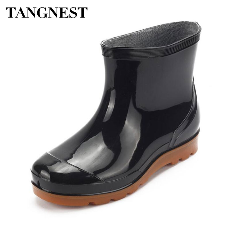Tangnest NEW 2018 Mens Rain Boots Casual Summer Waterproof Platform Rubber Boots Solid Black PVC Shoes Man Ankle Boots