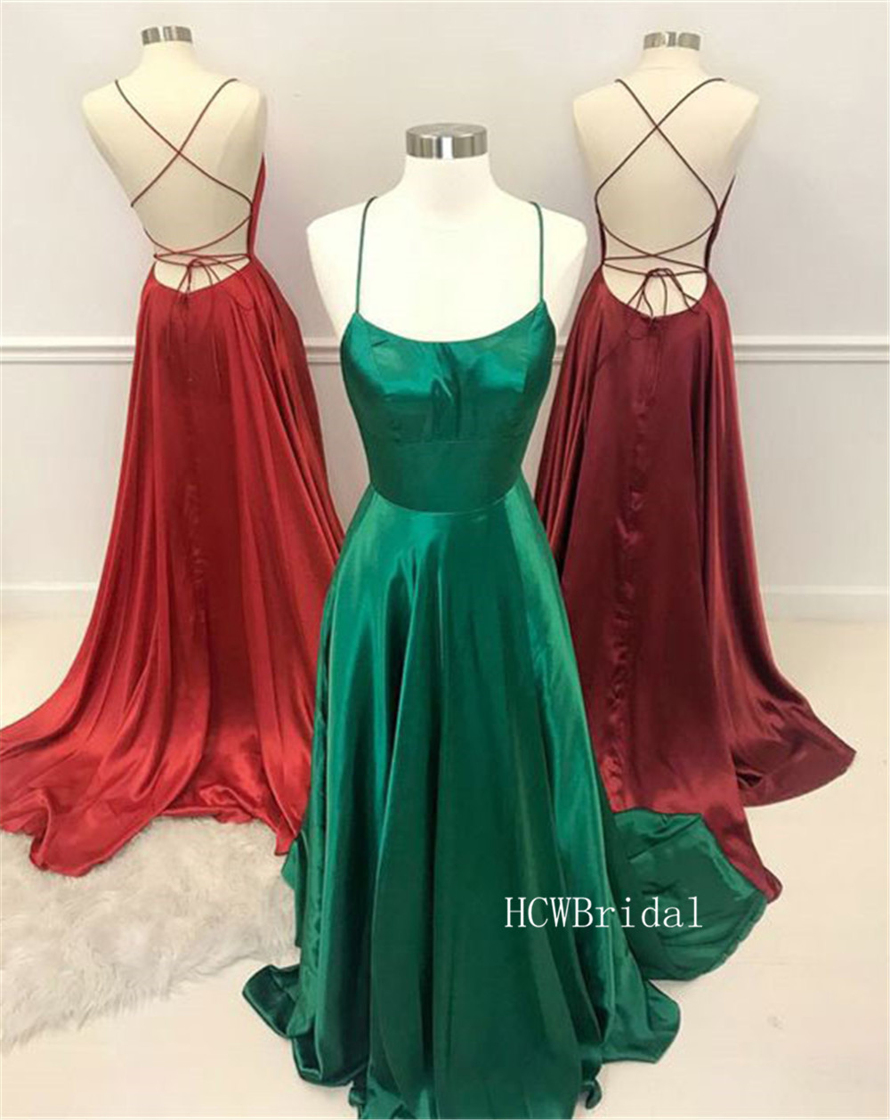 Sexy Backless Green Long   Prom     Dresses   A Line Floor A Length Spaghetti Strap High Quality Satin Evening Gown Cheap 2019
