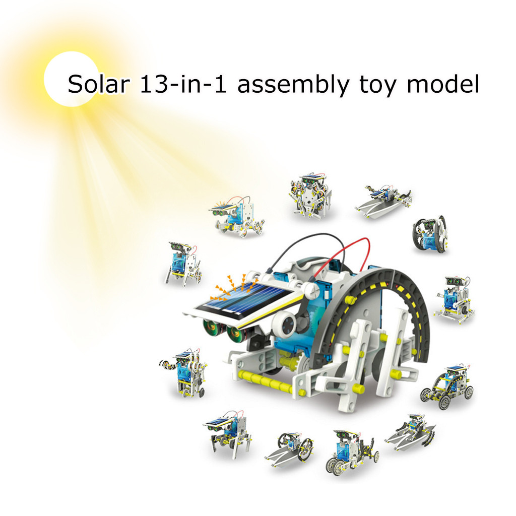 Kids Toys For Boys Diy Car For Kids Solar Power Car DIY Environmentally Friendly Puzzle Solar Robot 13-in-1 Assembled Toy Model