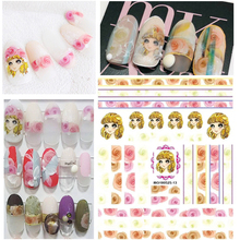 Nail decal Newest MGM-13 girl design nail sticker template Japan style rhinestones DIY decorations tools for art