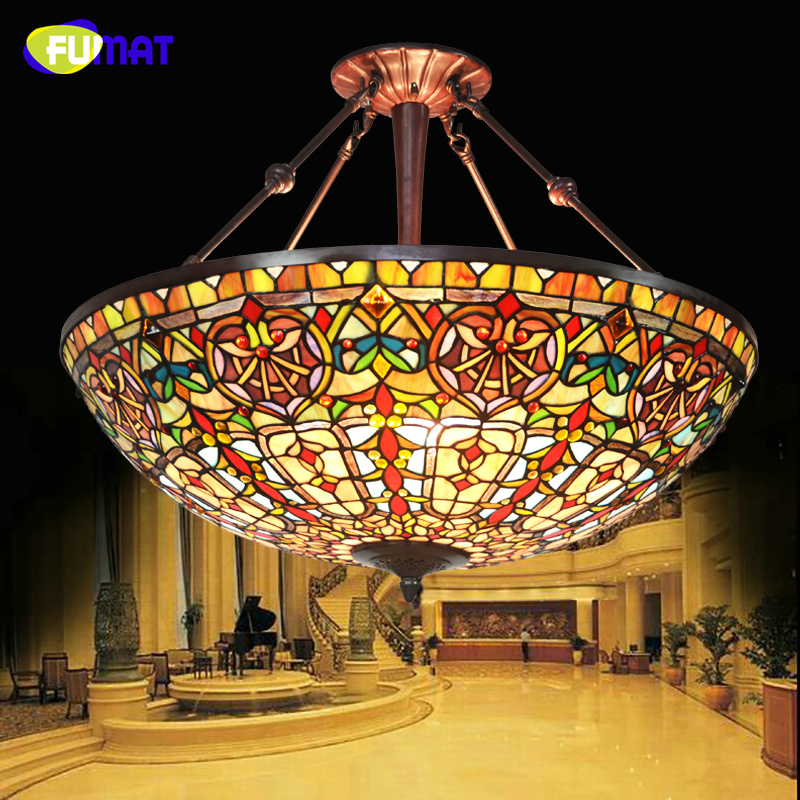 FUMAT European Style Baroque Restaurant Tiffany Country Light Classic Hotel Project Light Living Room Stained Glass Pendant Lamp fumat stained glass pendant lamps european style glass lamp for living room dining room baroque glass art pendant lights led