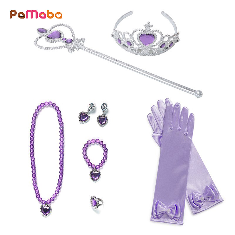 PaMaBa 8 Pcs/Set Cinderella Rapunzel Princess Accessories Knit Belle Cosplay Princess Jewelry Party Supplies Earrings Necklaces r47 belle page 8