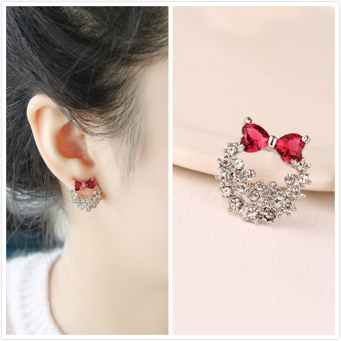 925 Sterling Silver Pretty Women S Children Earrings With Full Shiny Cz Red Bow Design Females E00065 In Stud From Jewelry Accessories On