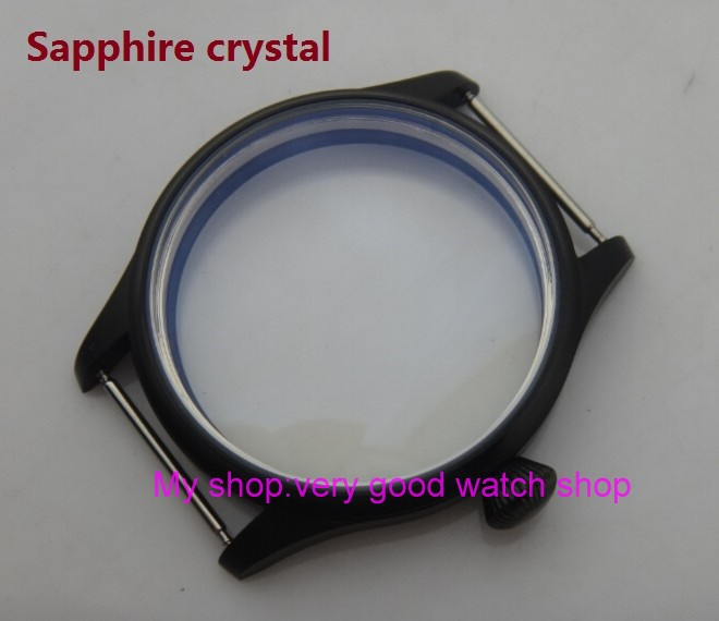 Sapphire crystal 44MM 316L stainless steel watch case with Plating black fit 6497/6498 Mechanical Hand Wind movement 13-8a 46mm matte silver gray stainless steel watch case fit 6498 6497 movement watch part case with mineral crystal glass