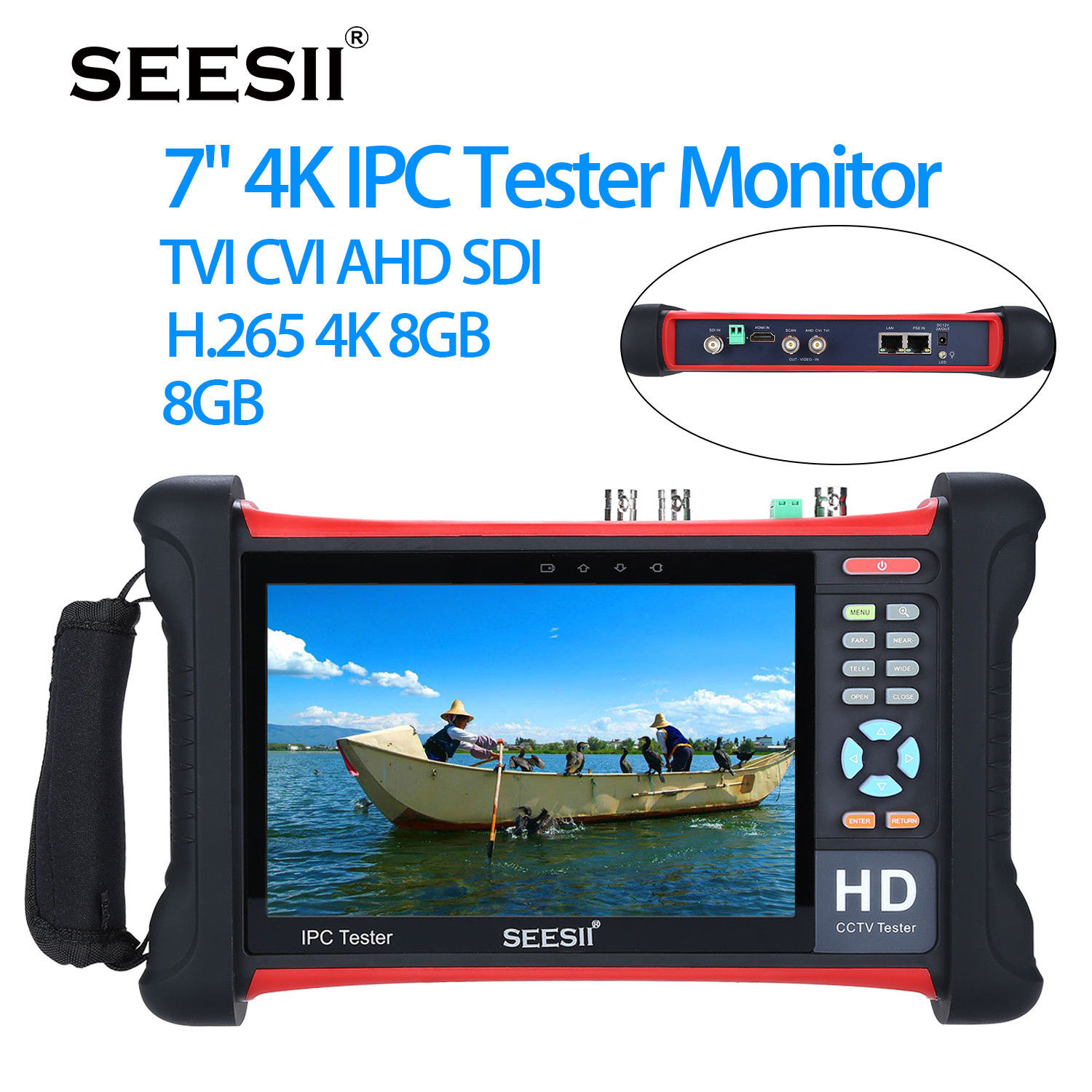 SEESII 7 4K 1080P IPC Camera CCTV Retina Touch Screen Tester Monitor Wifi TVI CVI AHD SDI CVBS IP Discovery Analog 1920x1200 ipc9300 ipc wifi ahd tvi cvi analog 4 3 touchscreen cctv tester for ip analog camera 1080p bnc network cable tester wifi 8gb