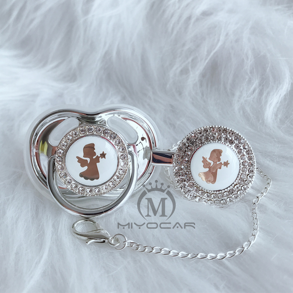 MIYOCAR Gold silver Angel lovely beautiful silver bling pacifier and pacifier clip BPA free dummy bling unique design GAG-8/9