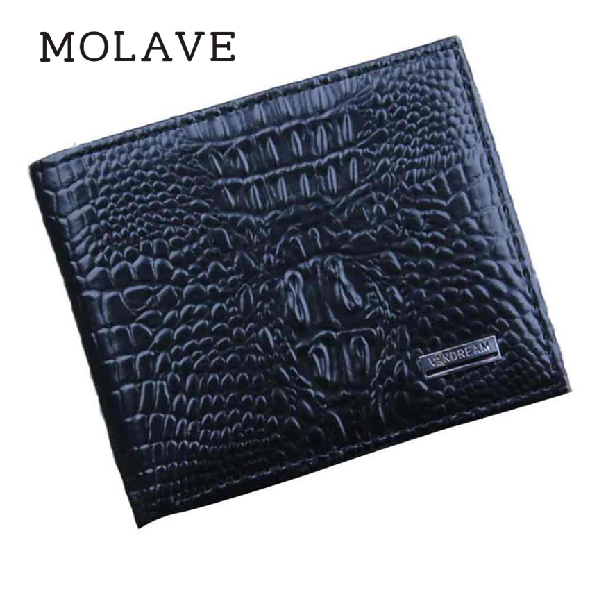 MOLAVE wallets wallet male Solid coin purse open Bifold Wallet Men Leather Credit ID Card Holder Billfold Mini Purse Feb12 men pu leather credit card holder billfold wallet purse checkbook clutch