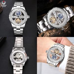 Image 5 - Legal transparente tourbillon relógios men auto enrolamento relógio mecânico aço milanês relógio de pulso à prova dwaterproof água montre fase da lua