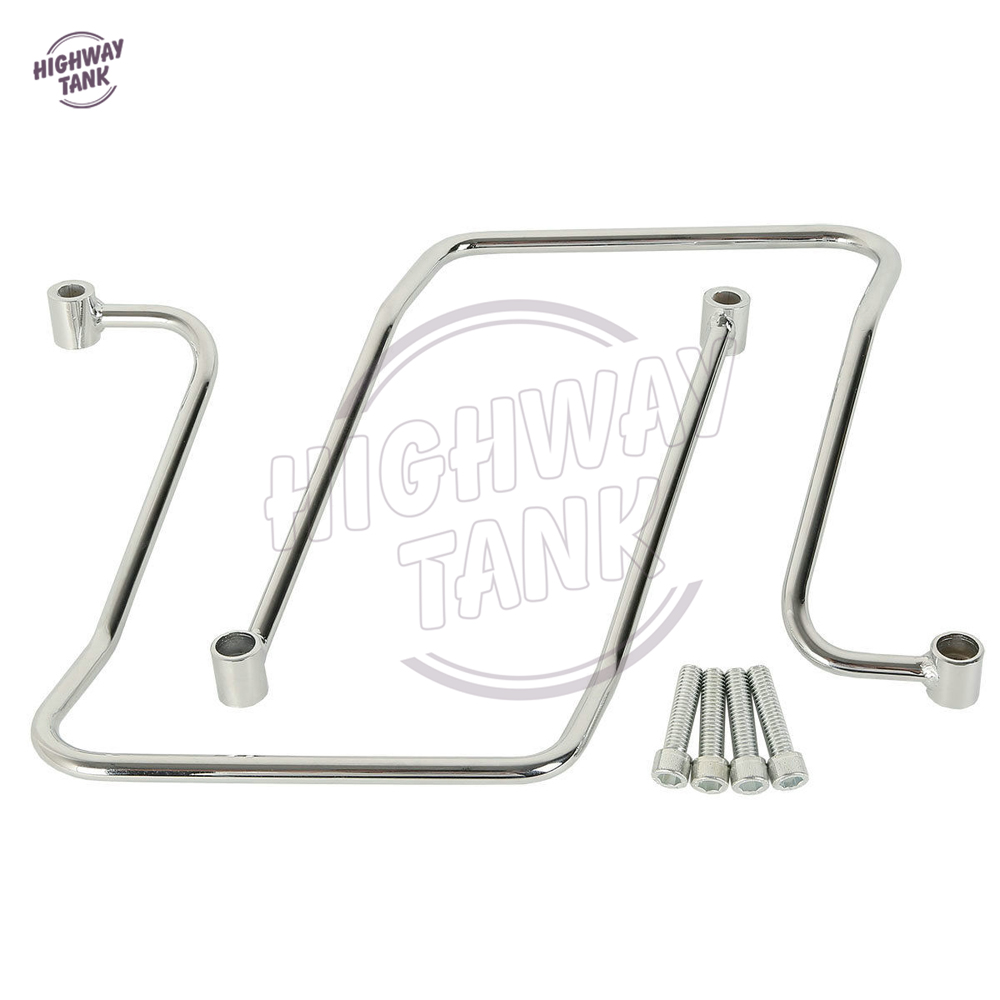 Chrome Motorcycle Saddlebag Support Brackets Case for