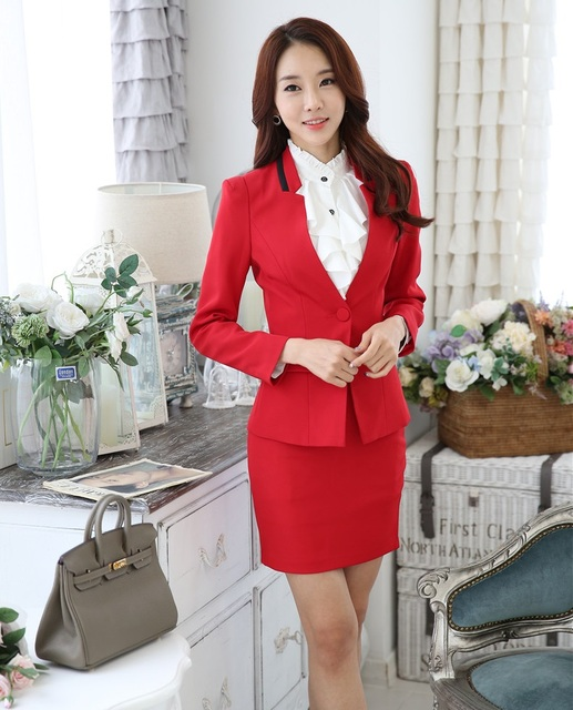 Plus Size 4XL Novelty Red Professional Autumn And Winter Business Suits  With Jackets And Skirt Ladies ccce912be