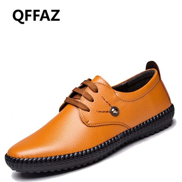 Qffaz Baru Sepatu Kulit Asli Pria Flat Kasual Bernapas Sepatu Sepatu Kulit  untuk Pria Sepatu Pria cdf0de2fe5