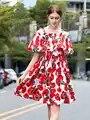 Alta Qualidade 2019 Verão Novas Mulheres do Desenhador Vestido de Flor de Impressão Surpreendente Funda Um Ombro Palavra Orelha Grande Balanço Vestidos Das Senhoras l238