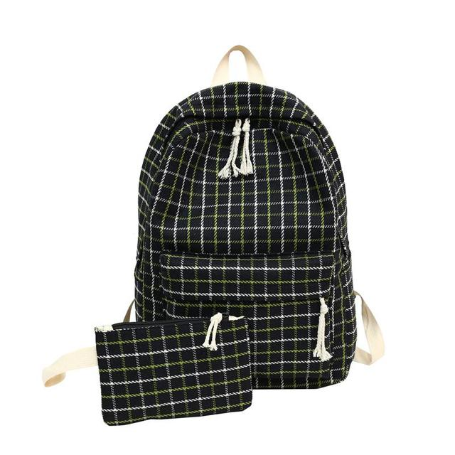 2 Pieces Japan style Plaid Style Women Backpack Pencil Case Student Girl School Bag Travel Shoulder Bag For Women 2019 Bagpack