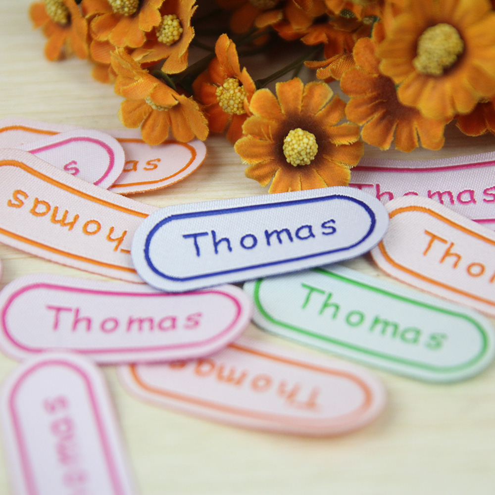 12Pcs 35x18MM Personalized Cotton Name Labels Washable Iron On Tags Sicker Custom Handmade Clothing Fabric Label Sewing Logo