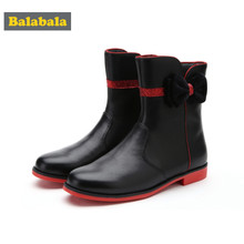 Balabala Girls PU Leather Fleece-Lined Mid-Calf Boots with Velvet Bow for Teenage Girl with Glitter Detail Zip Closure at Side(China)