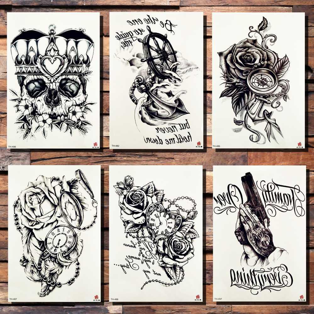 dd4e4e70e Crown Skull Anchor Flower Temporary Tattoo Sticker Rose Pirate Pocket Watch  Heart Black Tattoos Body Art