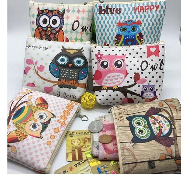 10pcs/lot! Fashion Women PU Leather Zipper Small Coin Wallet Kawaii Owl Coin Purse For Kids Girls Cartoon Animal Card Pouch Key