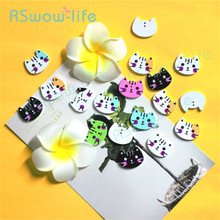 100pcs pack Lovely Cartoon Colored Cat Button Children Sweater Decorative Buttons Wooden Colorful  DIY Clothing Ornament