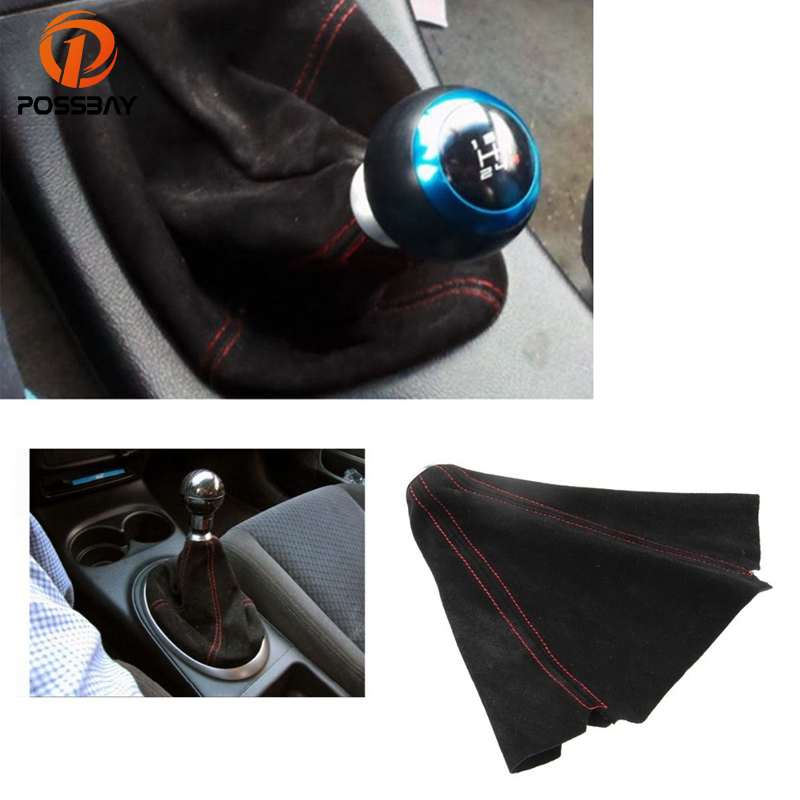POSSBAY Red Stitched Manual Gear Shift Knob Gaiter Boot Cover for Volkswagen VW Golf Jetta Car Gear Shift Knob Cover Collars