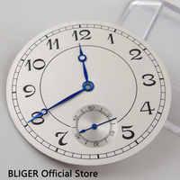 คลาสสิก 38.9 มิลลิเมตรสีขาว Sterile Dial ตัวเลขภาษาอาหรับสีดำนาฬิกา Dial Fit สำหรับ ETA 6498 ST3600 Hand Winding การเคลื่อนไหว + มือ