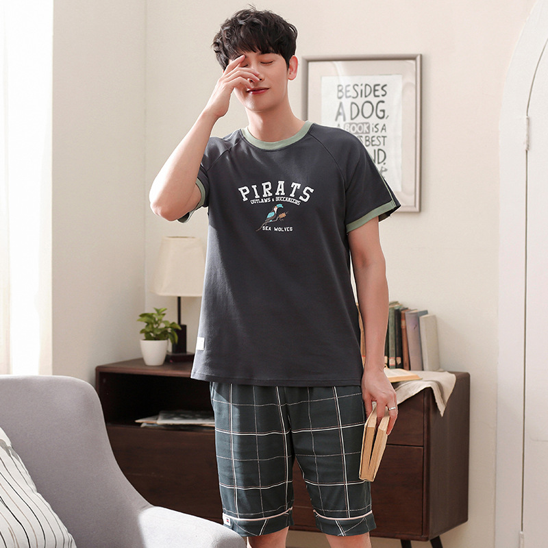 Men summer cotton new Korean pullover pajamas fresh casual short sleeve shorts two piece men pajama sets pajama set  men pajamas(China)