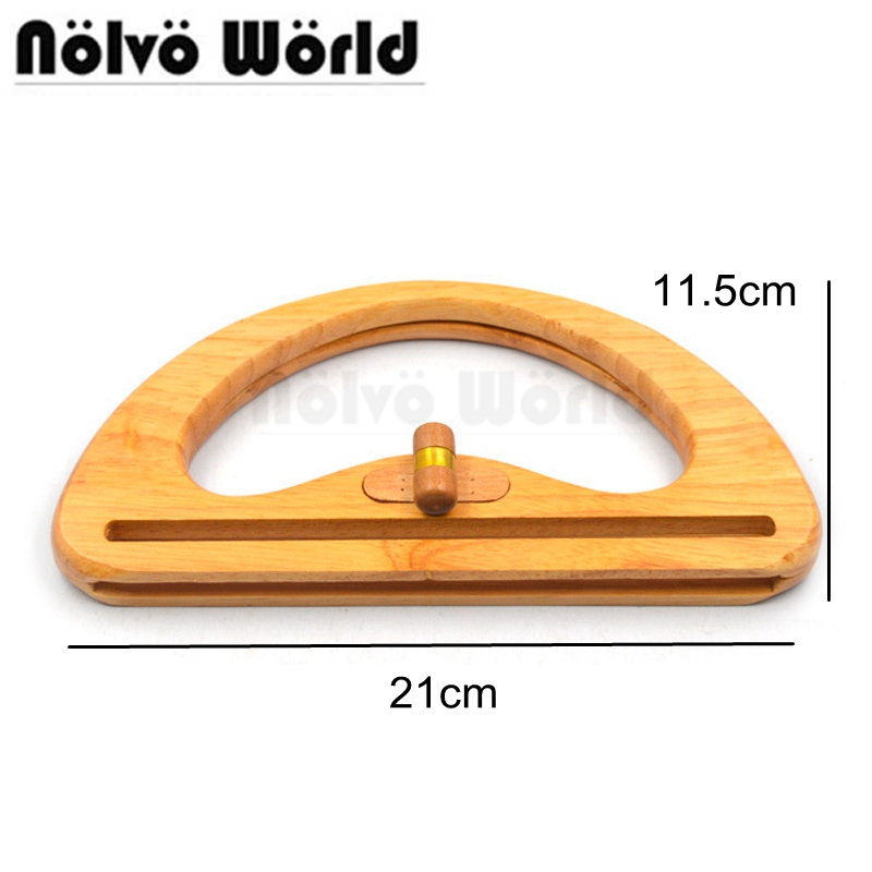 3 Pieces 21X11.5cm Twist Lock Purse Bag Wood handle,Solid Wood Frame for Hand made Purse,Wood Purse Hand Bag Handles