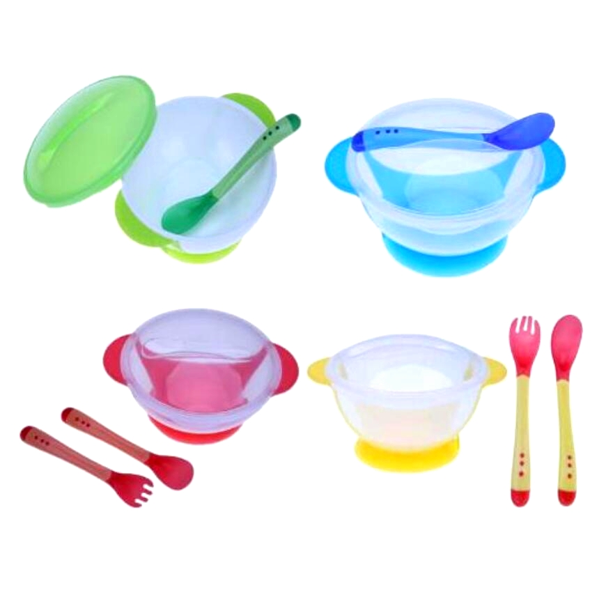 Child Tableware Spoon Food To Use Learning Dishes Service Plate/Tray Suction Cup Baby Dinnerware Temperature Sensing Bean