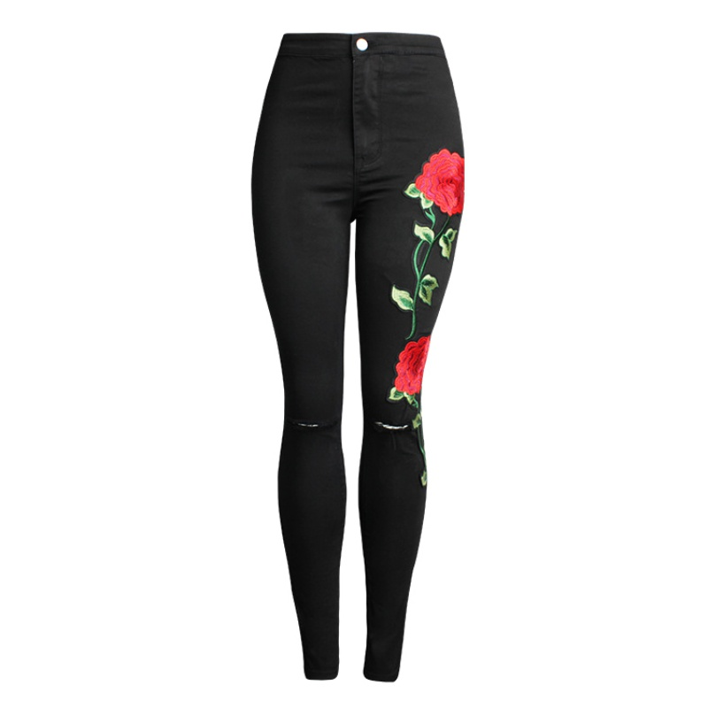 2017 Women Vintage Embroider Flowers Jeans Sexy Slim Elastic Denim Pants Female Slim Skinny Trousers Jeans  Pencil Pants