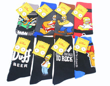 New Mens Cartoon Pattern Funny Cotton Crew Dress Socks Novelty Cool Casual Trendy Skateboard For Wedding Gifts