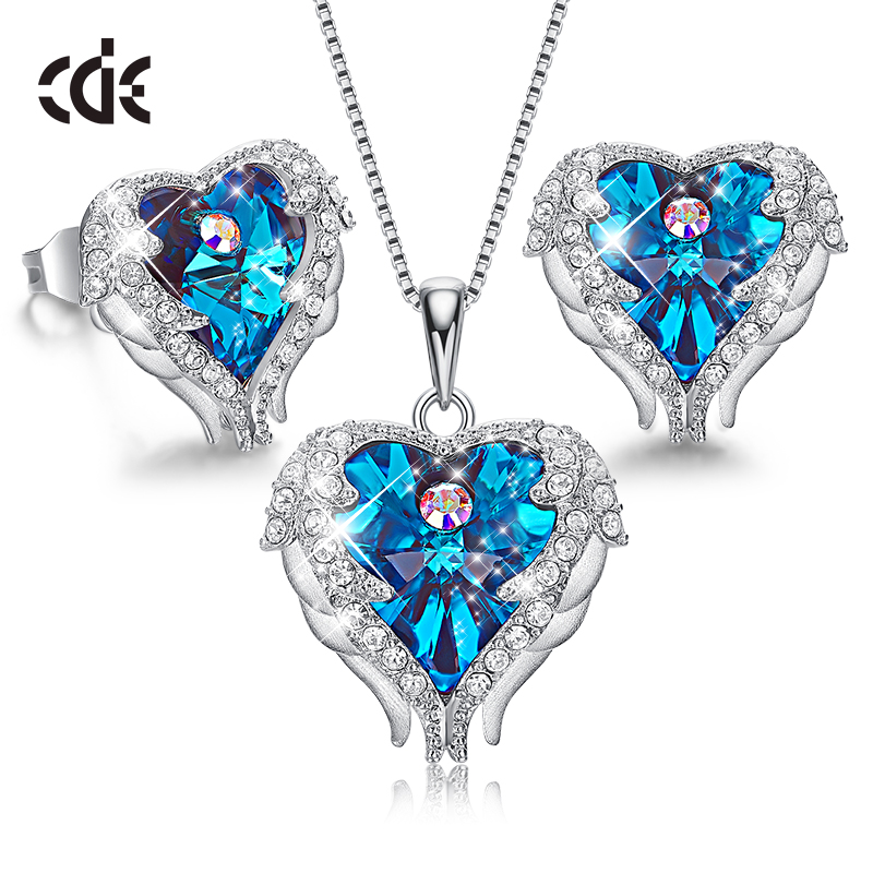 CDE 925 Sterling Silver Women Jewelry Sets Embellished with crystals from Swarovski Women Necklace Set Angle