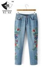 HDP029 женская мода черный Цветок вышивка джинсы девять нерегулярные длинные брюки вышивка джинсы/5 размер