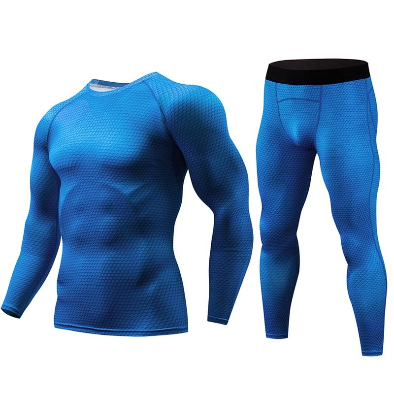 2018 Fitness Strakke Sport Pak Mannen Lange Mouw + Broek mannen Jerseys Set Compressie Basislaag Gym Kleding mannen Sportkleding