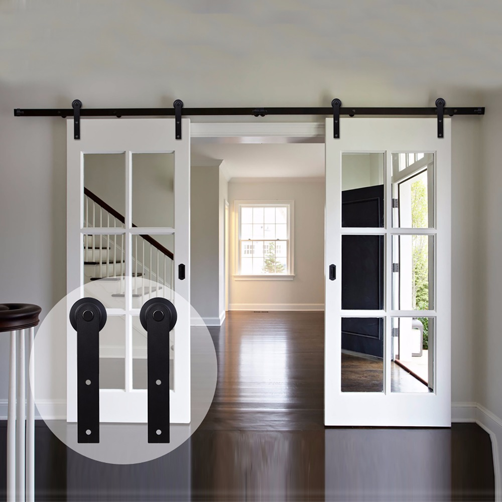LWZH Country Style Barn Door 6FT/7FT/7.5FT/9FT Black Carbon Steel Sliding Barn Door I-Shaped Track Roller For Double Door