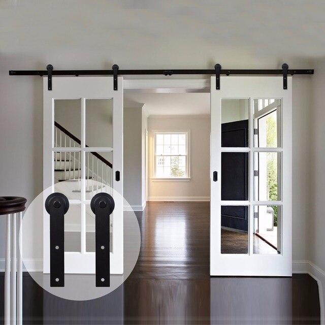 LWZH Country Style Barn Door 6FT/7FT/7.5FT/9FT Black Carbon Steel Sliding Barn Door I-Shaped Track Roller for Double Door