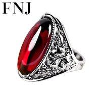 FNJ Statement Big Ring 925 Sterling Silver anillos Wedding Synthetic Blue Corundum Garnet S925 Thai Silver Rings for Women