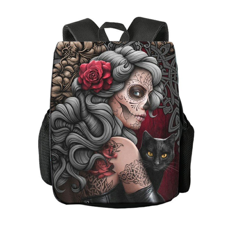 Replaceable Pattern Cool Gothic Skull Backpack Women Rucksack Bagpack Student School Bag For Teenager Girls Bookbag Backpack