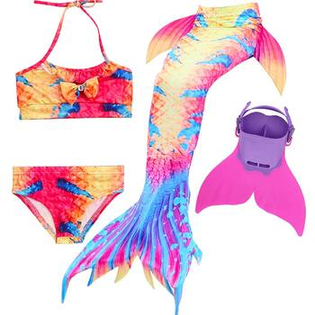 22 Colors 4pcs Ariel Children Swimming Mermaid Tail With Monofin Fins Girls Kid Swimsuit Swimmable Mermaid Tails Cosplay Costume