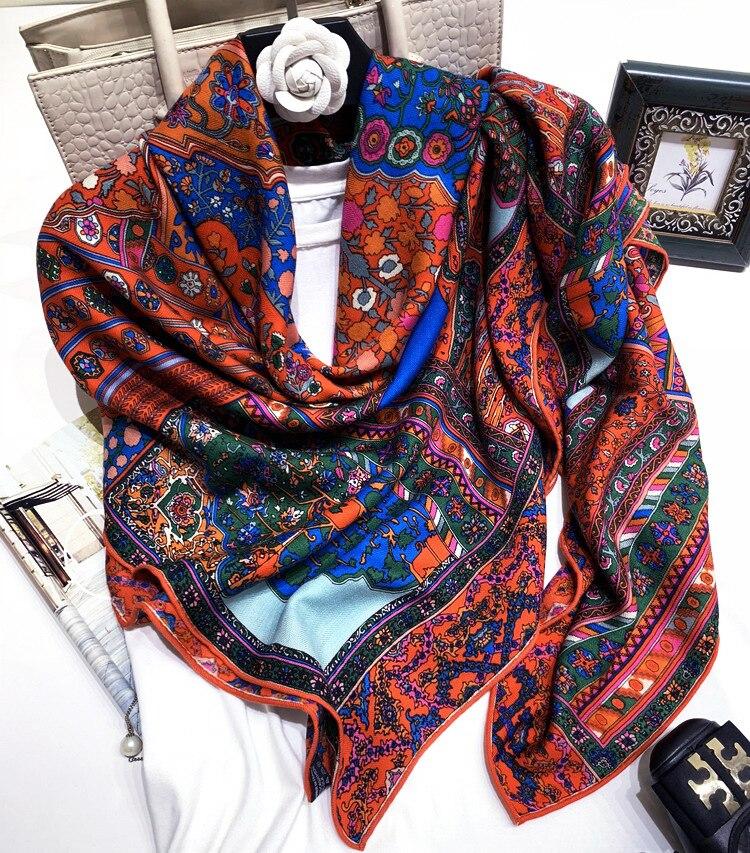 Persan tapis Style impression dame haute qualité soie cachemire écharpe Pashmina bandeau foulards Multi fonction livraison directe YR26