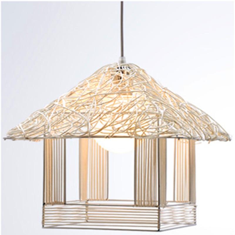 Garden rattan art lamp modern pendant lights for dining room originality droplight of cany bar pendant Restaurant