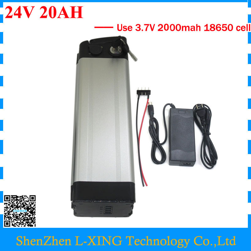 Rechargeable 500W 24V 20AH lithium ion battery pack 24 V 20AH battery 24V 7S 18650 battery pack 30A BMS with 29.4V 3A Charger free shipping 700w 24v lithium battery 24v 20ah electric bike battery 24 v battery with 30a bms 29 4v 3a charger