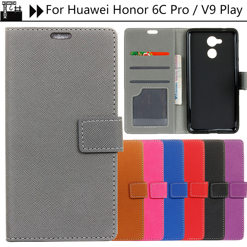 JURCHEN Back Case For Huawei Honor 6C Pro Case Flip Leather Wallet Phone Cover For Honor 6C Pro / V9 Play Case Cover Silicone
