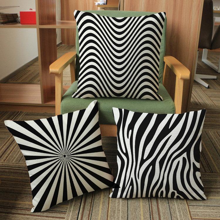 hot black white striped cushion without core custom cotton linen decorative throw pillows sofa chair cushions - Black And White Striped Chair