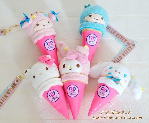 5pcs/set Ice cream series SANRIO Hello Kitty Melody Little twinstars rabbit Rilakkuma plush & stuffed toy doll puppets for gifts little rabbit animal series many chew toy
