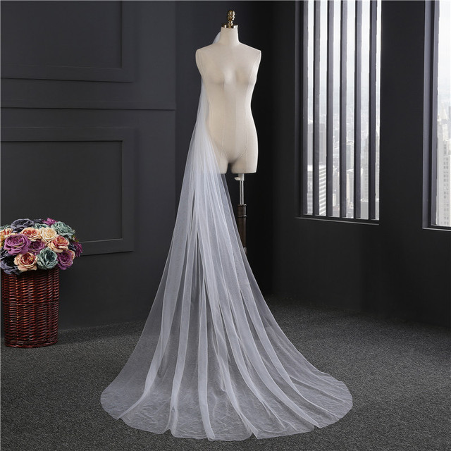 3 Meters 1 Layer Wedding Veil White/Ivory Simple Bridal Veil With Comb