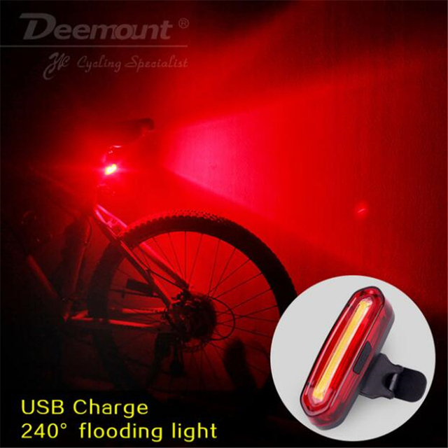 Deemount 100 LM recargable COB LED USB bicicleta de montaña luz trasera MTB advertencia de seguridad bicicleta luz trasera lámpara de bicicleta