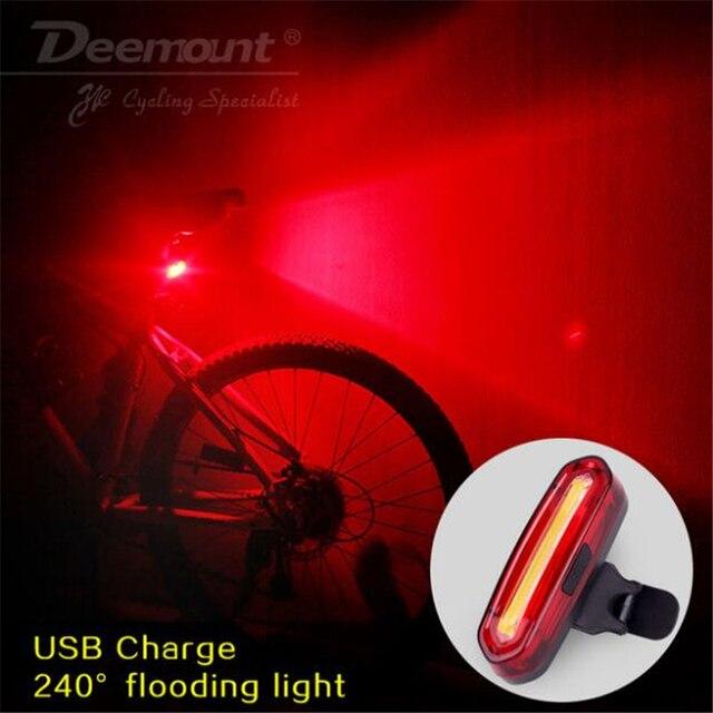 Deemount 100 LM recargable COB LED USB montaña bicicleta luz trasera MTB de advertencia de seguridad bicicleta luz trasera de la bicicleta de la lámpara