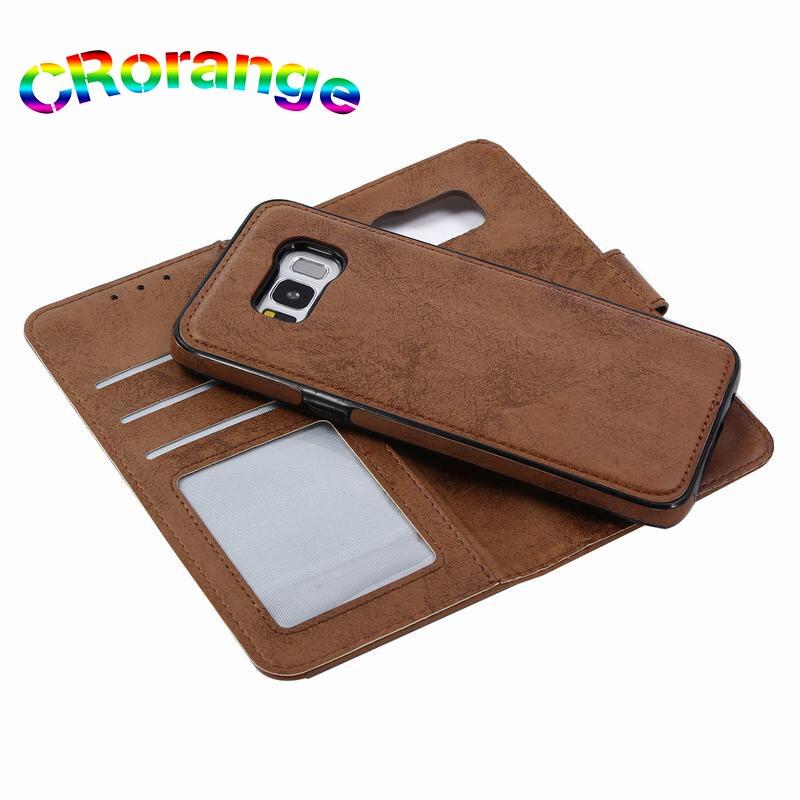 Lujo para Samsung S8 más S6 S7 borde Cartera de cuero cubierta magnética para la nota 9 S9 más Note8 caso 2 en 1 teléfono casos