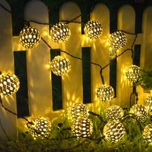 태양 문자열 조명 10/20 모로코 공 LED 문자열 요정 빛 장식 휴일 크리스마스 조명 야외 웨딩 장식