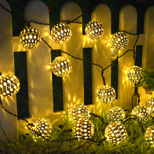 Solar String Lights 10/20 Morocco Balls LED String Fairy Light Decorative Holiday Christmas Lighting Outdoor Wedding Decoration